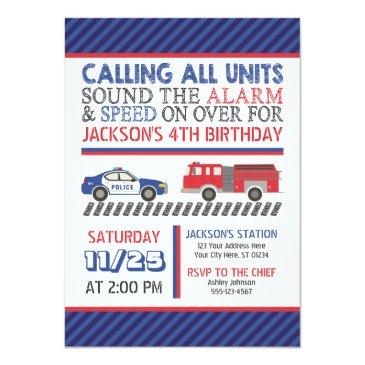 police and fire birthday invitations with envelopes