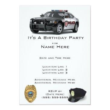 police birthday invitations