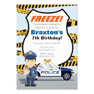 police birthday party invitations - freeze!
