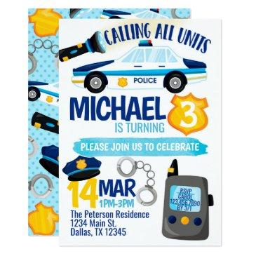 police cop policeman birthday party invitation
