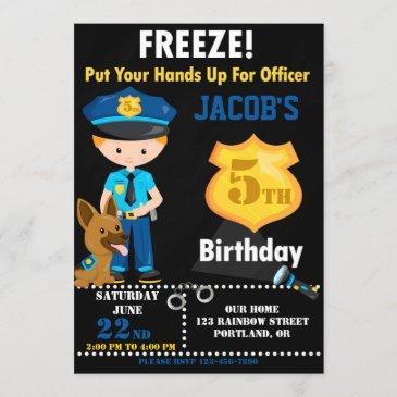 police officer birthday invitation boy cops party