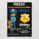 police officer birthday invitation girl party