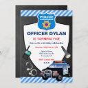 police officer chalkboard kids birthday party invitation