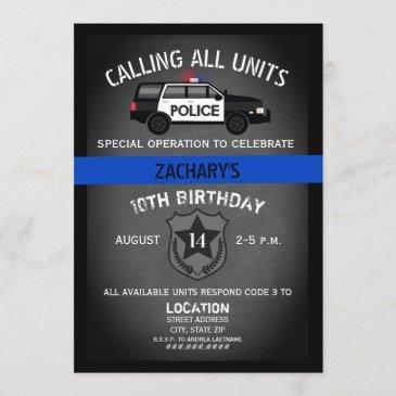 police suv badge thin blue line birthday invitation