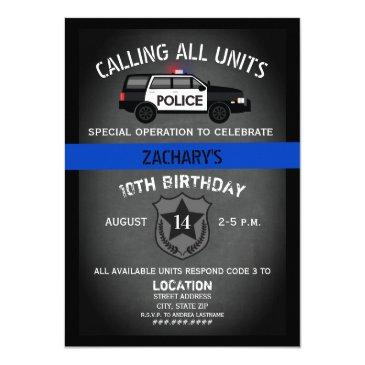 police suv badge thin blue line birthday invitation