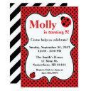 polkadot ladybug birthday party invitation