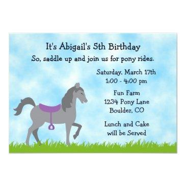 Small Pony Party Horse Birthday Invitation For Girls Front View
