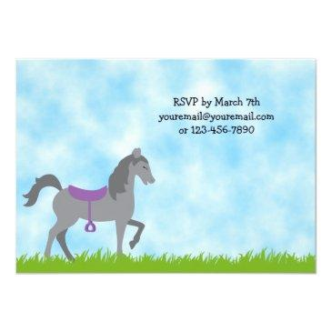 Small Pony Party Horse Birthday Invitation For Girls Back View