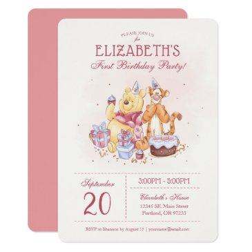 pooh & friends watercolor   first birthday invitation