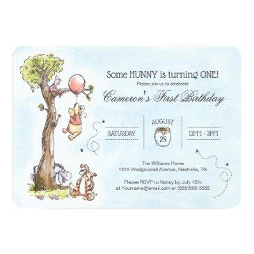 Small Pooh & Friends Watercolor Tree | First Birthday Invitations Front View