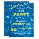 pool lights citrus lemon sweet 16 birthday invitation