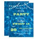 pool lights lime sweet 16 birthday invitations