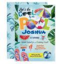 pool party birthday invitation for kid chlildren