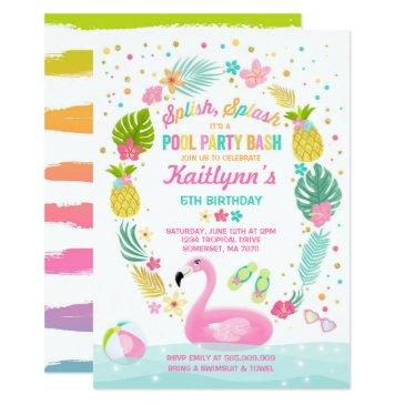 pool party birthday invitations tropical flamingo