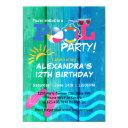 pool party birthday summer fun invitations