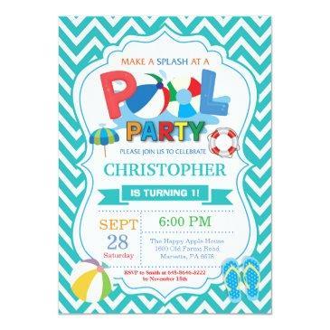 pool party invitations aqua splish splash boy