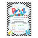 pool party invitation black splish splash boy