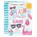pool party invitations, pool bash birthday invite