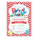 pool party invitation red splish splash boy