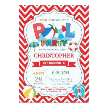 pool party invitations red splish splash boy