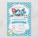 pool party invitation summer splish splash boy