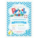 pool party invitation summer splish splash boy