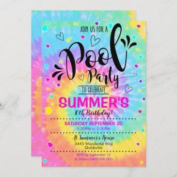 pool party tie dye invitation pool birthday