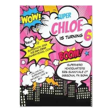 pop art super hero birthday invitation