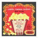 popcorn and a movie birthday party invitations
