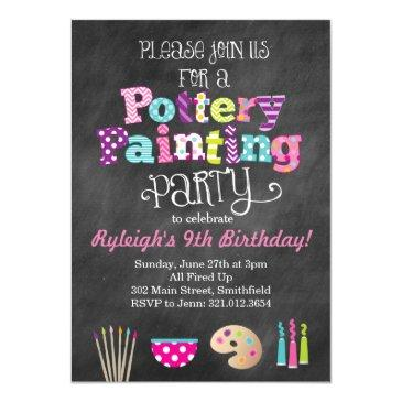 pottery painting party chalkboard style invitation