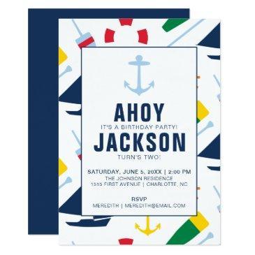 Preppy Nautical Childrens Birthday Party Boy Invitation