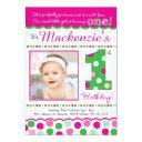 preppy pink & green polka dot first birthday invitation