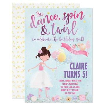 pretty ballerina birthday invitations