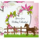 pretty brown horse, flowers and heart birthday invitations