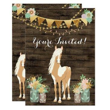 pretty horse and flowers on rustic wood birthday invitations