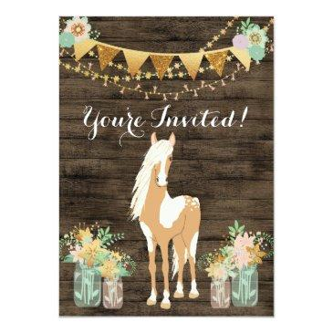 Small Pretty Horse, Flowers, Rustic Wood Birthday Invite Front View