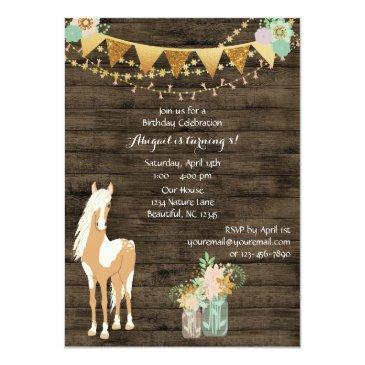 Small Pretty Horse, Flowers, Rustic Wood Birthday Invite Back View