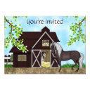 pretty horses and barn girls birthday invitations