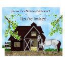 pretty horses, barn and trees birthday party invitations