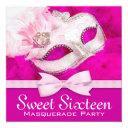 pretty hot pink masquerade party invitation