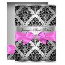 pretty pink black damask sweet 16 invitation