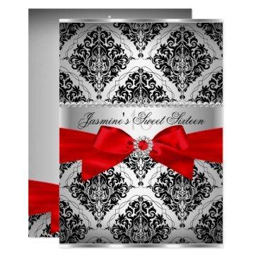 pretty red black damask sweet 16 invitations