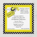 pretty yellow, black and white sweet 16 invitation