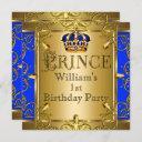 prince 1st birthday boy royal blue gold crown 2 invitation