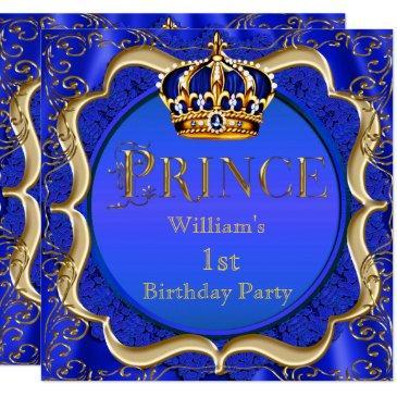 prince 1st birthday boy royal blue gold crown a invitations