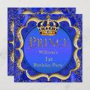prince 1st birthday boy royal blue gold crown a invitation