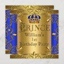prince 1st birthday boy royal blue gold crown invitation