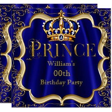 prince birthday royal blue gold crown mens 2 invitations