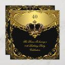 prince king gold royal black crown birthday invitation