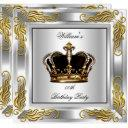 prince king men's crown silver birthday party invitations
